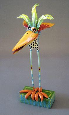 paper mache birds, color paper, whimsic paper, paper birds