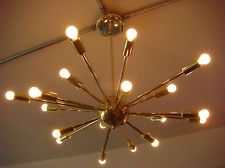 POLISHED BRASS ATOMIC SPUTNIK STARBURST LIGHT FIXTURE CHANDELIER CEILING LAMP $595