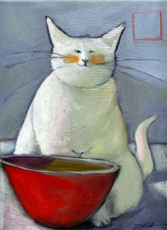 """""""White Cat with Red Bowl"""", by Paula Zima, large image and comments."""