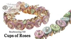Beadweaving - Cups of Roses Bracelet. (Only they have the 14mm cup buttons. The Czech petals are crystal copper rainbow (pretty) and 8x7mm.)