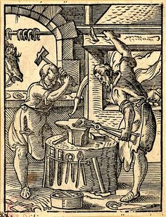 Smiths and anvil. Jost Amman Ger. 1539-91 woodcut 7.8x6cm. Bib Mun lyon by tony harrison, via Flickr