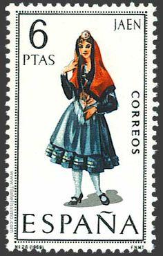 Trajes regionales españoles en sellos JAEN