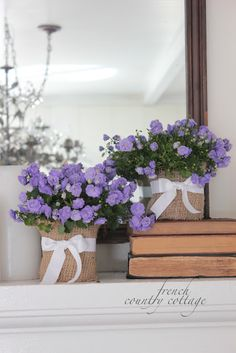 FRENCH COUNTRY COTTAGE, use burlap to cover container tie with ribbon fill your choice flowers or plant. display center of table with vintage books. add candles if you wish