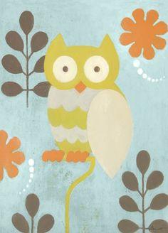 """""""Hootie Owl"""" l art by Sally Bennett for Oopsy daisy, Fine Art for Kids $59"""