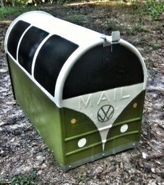Freshly painted VW bus mailbox