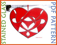 Stained Glass Pattern Celtic Knotwork Heart Suncatcher This one can be easy, or a little harder.  Your choice!  The pattern is designed with an optional break to make the longest, thinnest, piece easier to cut.  More advanced stained glass artists can challenge themselves by cutting it all in one piece!