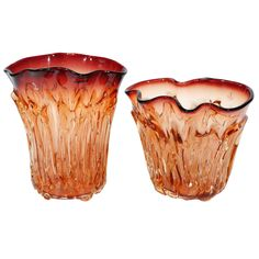 Two Large Amber Murano Vases