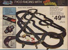 Electric slot car racing sets.