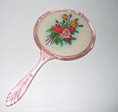 Vintage Pink Plastic Hand Mirror With Rose Floral Design.
