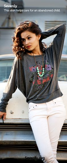 Ladies, by purchasing this week's cute Sevenly dolman top you're providing food and care to abandoned babies and toddlers. Awesome, right? Click on the pic or click here to get one ---> www.sevenly.org/Dale