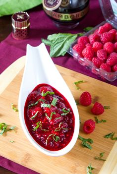 Simple Raspberry & Cranberry Sauce for Thanksgiving, also makes a marvelous spread to serve with bread and cheese!