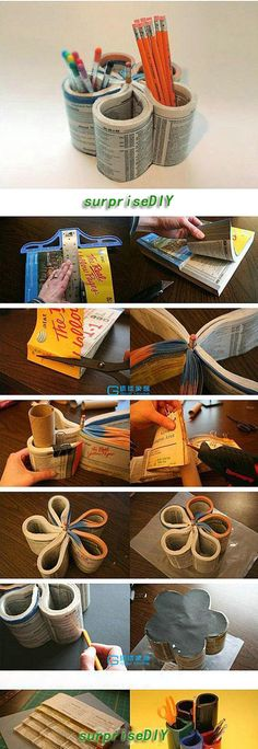 recycled book pencil holder.