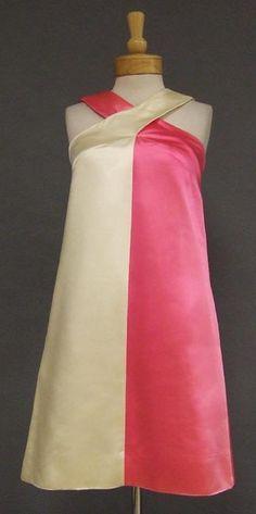 Hot Pink & Ivory 1960's Color Block Mini Dress