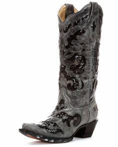 Women's Black Crater Sequins Inlay Boot