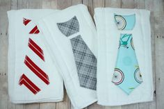 Neck Tie Baby Burp Cloth, Cloth Diaper Burp Cloth, Burpie, Set of 3 in Cruizin Bicycles, Burp Cloth Gift Set by JuteBaby