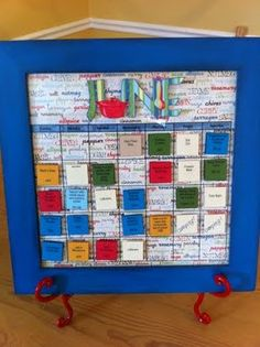The Best Menu Planning Board: color-coded magnetic meal cards with ingredients listed on the back. Just pick the meals and make a grocery list from the back side!