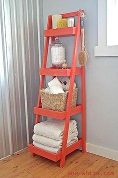Colorful ladder shelf in a bathroom.