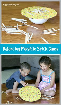 Such a FUN way to practice, counting & letter formations, and encourage discovery & creating! (Homemade Game: Balance the Popsicle Sticks)~ Buggy and Buddy