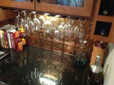 """One of our happy customers installed this Traditional 4 Fasade Backsplash Panel and says, """"We are thrilled with the backsplash we used for our new """" beverage center"""" !"""""""