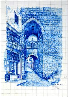 Arco de Almedine  Blue tile mural from the streets of Coimbra, Portugal