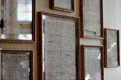 old letters in lovely gold leaf frames.