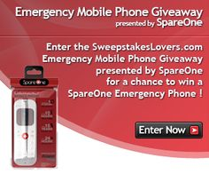 Enter the SweepstakesLovers.com Emergency Mobile Phone Giveaway presented by SpareOne for a chance to win a SpareOne Emergency Mobile Phone !    Enter at http://www.sweepstakeslovers.com/our-giveaways/sweepstakeslovers-com-emergency-mobile-phone-giveaway-presented-by-spareone/