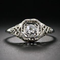 Art Deco .33 Carat Filigree Diamond Ring