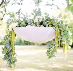 idea, umbrellas, floral arrangements, outdoor weddings, may flowers, green weddings, april showers, baby showers, bridal showers