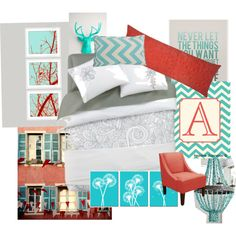 """coral and turquoise room"" by annthenson on Polyvore"