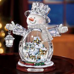 thomas kincade illuminated crystal snowman...hammacher schlemmer