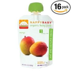 HAPPYBABY Organic Baby Food, Stage 1, Fresh Mango, 16 - 3.5-Ounce Pouches