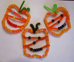 Beaded Pumpkin Jack O' Lantern Ornaments