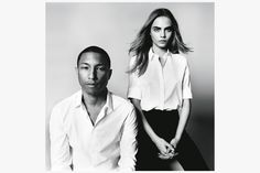 Cara Delevingne and Pharrell Williams by David Bailey for 'British Vogue' – BORN lucky born lucki, fashion, pharrel william, kanye west, david bailey, cara delevingne, black, british vogu, pharrell williams