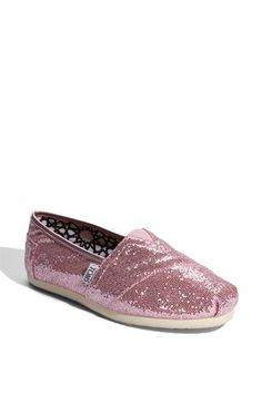 Pink glitter Toms...these are so comfortable!!!