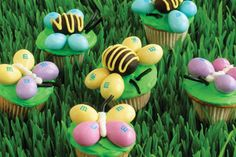 food for thought, peanut, butterflies, bee, decorating ideas, mini cupcakes, easter cupcakes, easter treats, kid