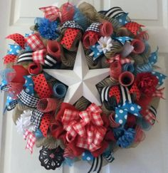 Colorful Country BARN STAR Wreath  PJCreativeWreaths