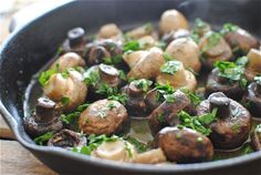 Yum - mushrooms sauteed in wine with garlic & parsley. *Made it & it is A-mazing!  I could have eaten the entire pan of mushrooms*