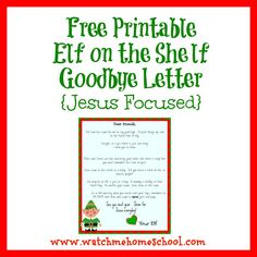 Free Printable Elf on the Shelf Goodbye Letter {Jesus Focused} - Watchmehomeschool
