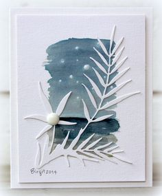handmade card: JUN14VSNF Starry sky by Biggan ... background the a watercolor wash patch in gray blues and spots for stsrs ... Penny Black exotic leaf die cut in white ... wonderful piece of art!