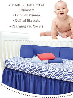 Sheets, Dust Ruffles, Bumpers, Crib Rail Guards, Quilted Blankets & Changing Table Covers