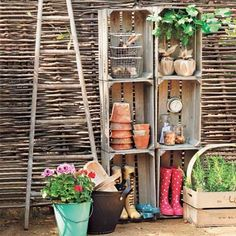 Beef up your garage or shed's storage with this rustic shelving unit. It's a breeze to build: Just place the crates on top of one another, one at a time. Drill pilot holes in the corner braces to prevent the wood from splitting, then fasten with 2-inch deck screws. For extra support, screw the unit into a wall from inside the crates.