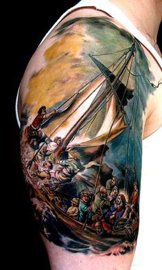 tattoo ideas, men tattoos, nautical tattoos, sea, storm, tattoo ink, artwork, art tattoos, incredible tattoos