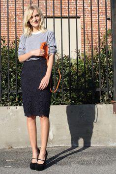 Sweatshirt and pencil skirt.