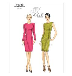 Vogue V8742 Very Easy Vogue Close fitting dress Size: BB (8-14) Availability: OOP  Condition: Uncut, Factory Folded