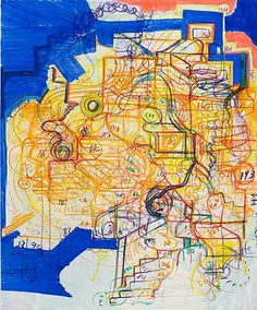 """Joanne Greenbaum Untitled, 2007 Oil, flashe, and acrylic on canvas 68"""" x 56"""" Shane Campbell Gallery"""