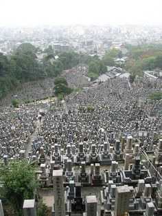 Cemetery in Kyoto, Japan..