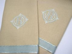 """Sand linen guest towel with grey/green trim and matching """"Savanna"""" monogram"""