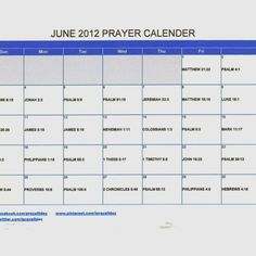June 2012 Prayer Calendar