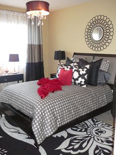 "Client Project: Doral FL Townhome Contemporary Bedroom Makeover - using Bukhara Pillow 24"" - Black & White from @Z Gallerie"