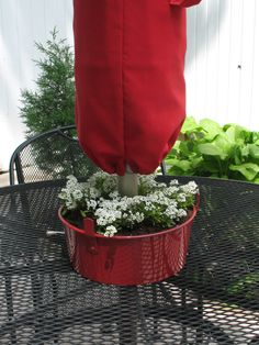 Patio tabletop planter made from an angel food cake pan. Umbrella pole fits through the hole in the center of the pan. I bought the pan at the local thrift shop for a buck. Paint, plant, enjoy!